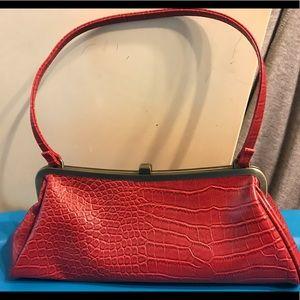 Handbags - Vintage Red faux alligator purse